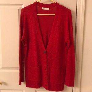 Abercrombie & Fitch Red Cardigan Sweater